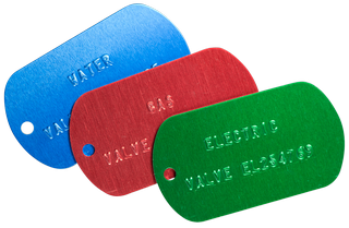 embossed colored tags